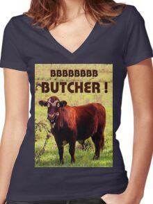 BUTCHER Women's Fitted V-Neck T-Shirt