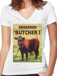 BUTCHER Women's Fitted V-Neck T-Shirt