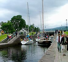 Fort Augustus Locks, Southern end Loch Ness, Scotland. by Roy  Massicks
