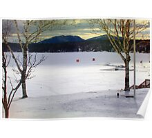 OverLooking the Lake During Ice Fishing Season Poster