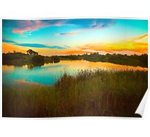 Sunset over Greenfield Wetlands, South Australia Poster