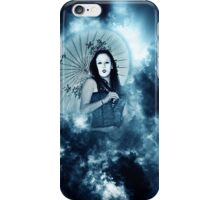 A female model in her 20s dressed as a Japanese with white make up iPhone Case/Skin