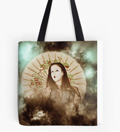 A female model in her 20s dressed as a Japanese with white make up Tote Bag