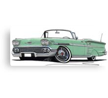 Chevrolet Bel Air Impala Convertible (1958) Light Green Canvas Print