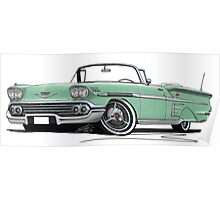 Chevrolet Bel Air Impala Convertible (1958) Light Green Poster