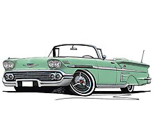 Chevrolet Bel Air Impala Convertible (1958) Light Green Photographic Print
