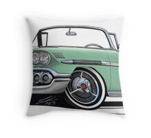 Chevrolet Bel Air Impala Convertible (1958) Light Green Throw Pillow