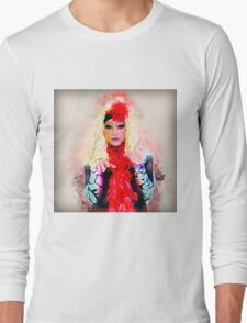 Drag Queen with blond wig Long Sleeve T-Shirt