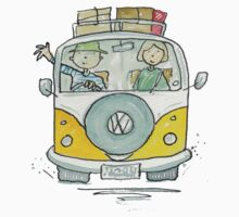 VW Camper Van and Happy Campers by AndyLanhamArt