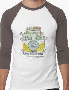 VW Camper Van and Happy Campers Men's Baseball ¾ T-Shirt