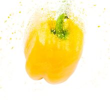 Exploding Yellow Bell pepper (Capsicum annuum) on white background by PhotoStock-Isra