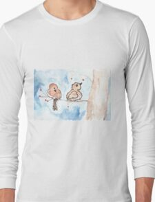 Winter Birds with Berries Long Sleeve T-Shirt