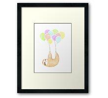 happy flying sloth Framed Print