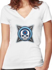 Halo 4 Headshot! Medal Women's Fitted V-Neck T-Shirt