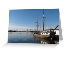 Old Ship in Calm Water Harbor Greeting Card