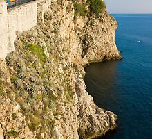 Dubrovnik view of the old city wall and the Adriatic Sea by kirilart