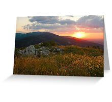 Colorful Sunset over the Mountain slope Greeting Card
