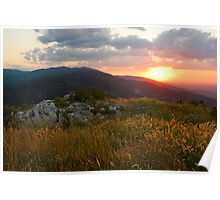 Colorful Sunset over the Mountain slope Poster