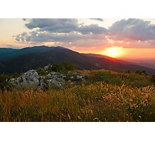 Colorful Sunset over the Mountain slope Photographic Print