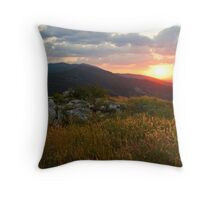Colorful Sunset over the Mountain slope Throw Pillow