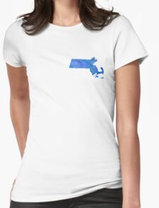 Massachusetts State Watercolor Womens Fitted T-Shirt