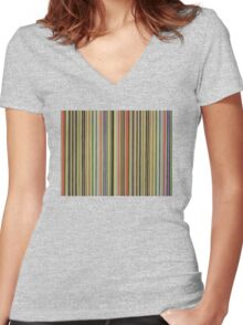 Linear Scape Women's Fitted V-Neck T-Shirt
