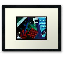 Guitar on Stairs Reflected Framed Print