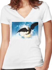 Toothless and Hiccup Women's Fitted V-Neck T-Shirt