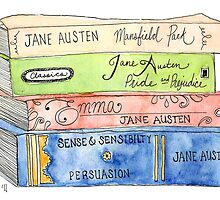 Jane Austen Books by emilynortonart