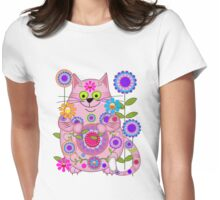 Cute Flower Power Cat Womens Fitted T-Shirt