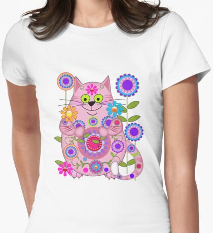 Cute Flower Power Cat Womens Fitted T-Shirt