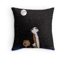calvin and hobbes night sky  Throw Pillow