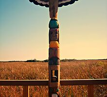 Totem Pole Sunset - Photography Miccosukee Native American  by WayfarerPrints