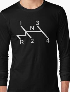 old school shift diagram in white.  Long Sleeve T-Shirt