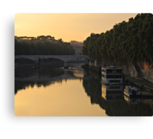 Sunset over river Tiber in Rome Canvas Print