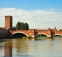 The Castelvecchio Bridge in Verona by kirilart