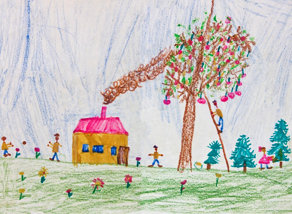 Child drawing of a happy family by kirilart