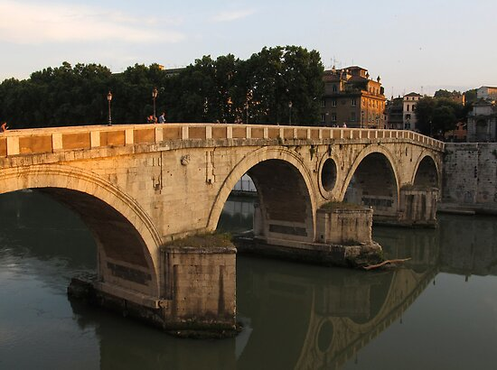 Sunset at bridge Ponte Sisto in Rome by kirilart