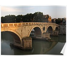 Sunset at bridge Ponte Sisto in Rome Poster