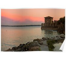 Lake Garda sunset with the tower of The Scaliger Castle Poster