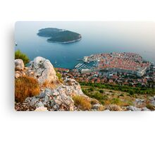 Panoramic view of the Old Town Dubrovnik and Island Lokrum Canvas Print