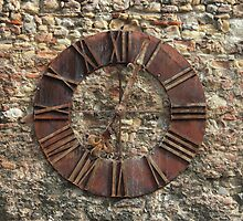 Ancient Clock Face on wall Background by kirilart