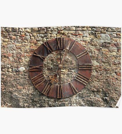 Ancient Clock Face on wall Background Poster