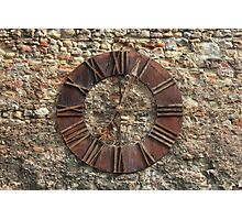 Ancient Clock Face on wall Background Photographic Print