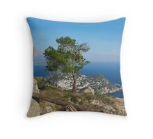 Island Capri view from the highest point Monte Solaro Throw Pillow