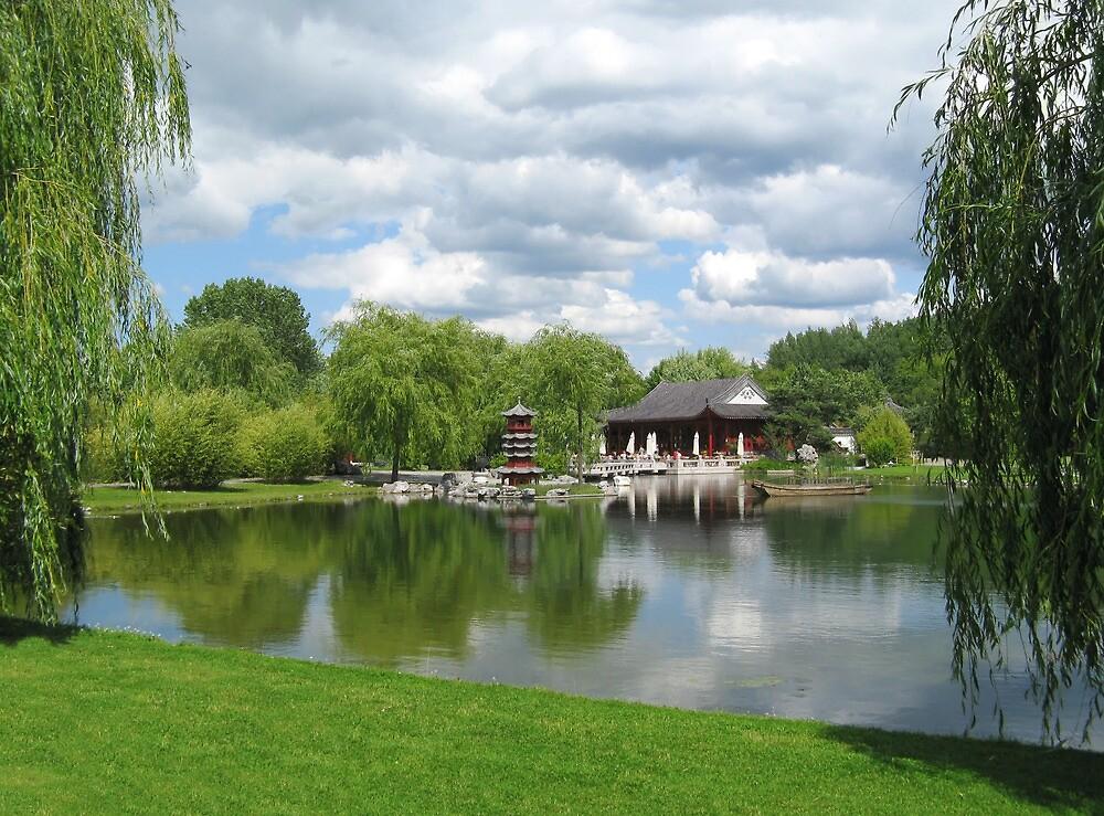 Chinese Tea Pavilion near the lake by kirilart