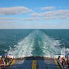 Ferry Boat leaving UK land from Dover to Calais by kirilart