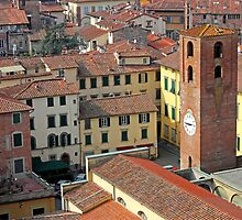 City View of Lucca with the Clock Tower by kirilart