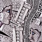 City Love surreal ink pen and colored pencils drawing by Vitaliy Gonikman