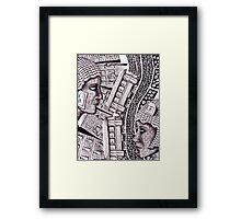City Love surreal ink pen and colored pencils drawing Framed Print